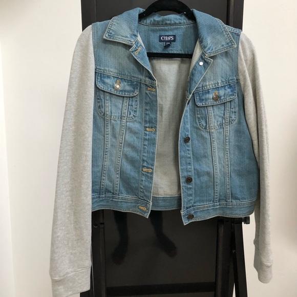 Chaps Jackets   Blazers - NEW! Women s M Jean jacket with sweater sleeves b7b932fcd